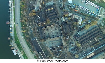 Flying over the abandoned factory