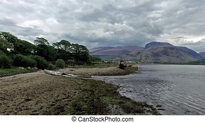 Flying over the abandoned ship wreck in Fort William...