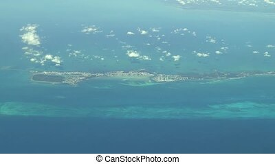 Aerial footage of an islands in The Bahamas. Actual high altitude footage.
