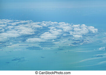 Flying over The Bahamas.
