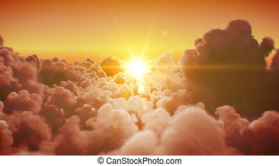 Flying Over the Beautiful Infinite Clouds with the Evening or Morning Sun Shining Bright Seamless. Looped 3d Animation with Sunset or Sunrise Over the Horizon. 4k Ultra HD 3840x2160.
