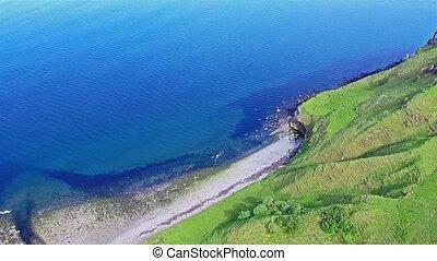 Flying over the beautiful Lealt Falls - Isle of Skye -...