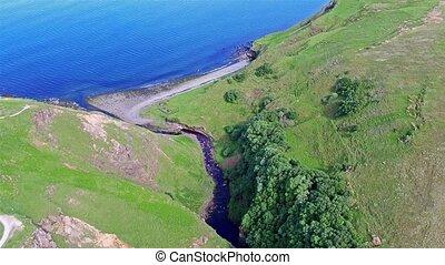 Flying over the beautiful Lealt Falls - Isle of Skye - ...