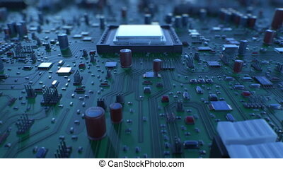 Flying Over the Circuit Board and Processors. Looped 3d Animation of Motherboard and CPU with DOF. Technology and Digital Concept. 4k Ultra HD