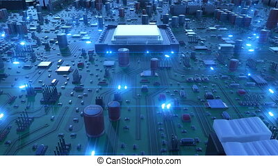Flying Over the Circuit Board and Processors with Blue Signals. Looped 3d Animation of Motherboard and CPU with Blue Flares. Technology and Digital Concept.