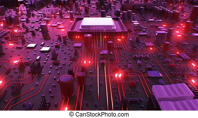 Flying Over the Circuit Board and Processors with Red Lights. Looped 3d Animation of Motherboard and CPU with Red Flares. Technology and Digital Concept. 4k Ultra HD