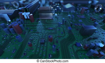 Flying Over the Circuit Board. Looped 3d Animation of Motherboard with DOF. Technology and Digital Concept. 4k UHD