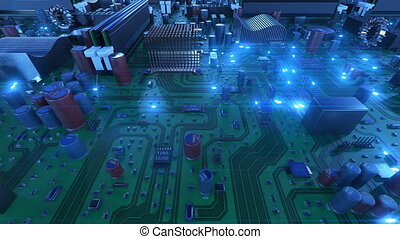 Flying Over the Circuit Board With Blue Signals. Looped 3d Animation of Motherboard with Flares. Technology and Digital Concept. 4k UHD