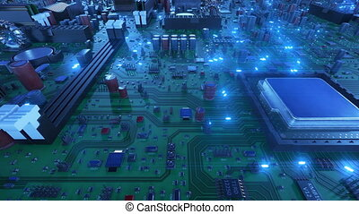 Flying Over the Circuit Board With CPUs and Blue Signals. Looped 3d Animation of Motherboard with Processors and Flares. Technology and Digital Concept. 4k UHD
