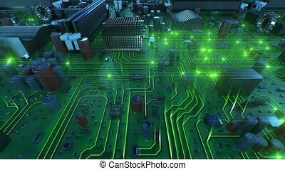 Flying Over the Circuit Board With Green Lights. Looped 3d Animation of Motherboard with Flares. Technology and Digital Concept.