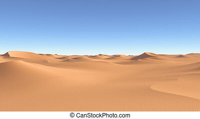 Flying over the desert dunes and sa