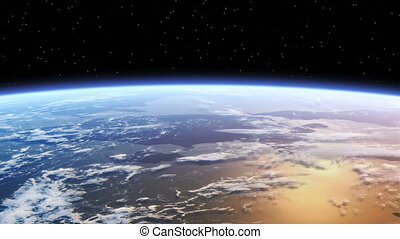 Flying Over The Earth. Realistic 3D Animation. Looped.