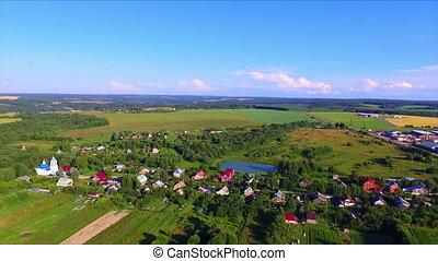 Flying over the farmland
