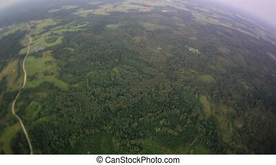 Flying over the forest and field. Field road leaving in a distance