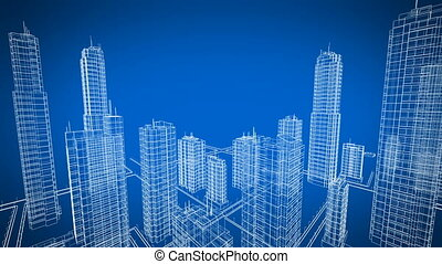 Flying Over the Growing City. Beautiful 3d Blueprint of Contemporary Buildings. Blue color 3d animation. Construction and Technology Concept.