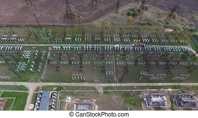 Flying over the high-voltage station. aerial survey