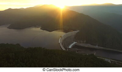 Flying over the hydroelectric power station