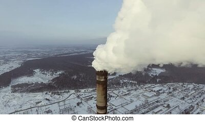 Flying over the large pipe plant for the production of...