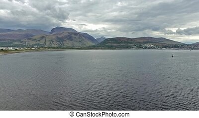 Flying over the Loch Linnhe in Fort William towards Ben...
