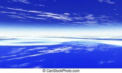 Flying over the ocean