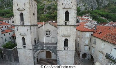 Flying over the old town of Kotor in Montenegro - aerial...