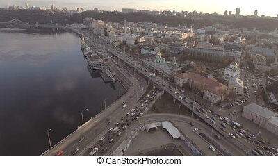 Flying over the river in the city. Kiev, Ukraine.