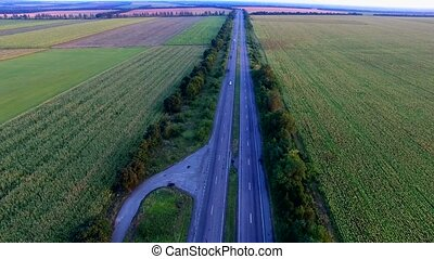 Flying Over The Road Highways