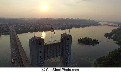 Flying over the South bridge in Kiev. Ukraine