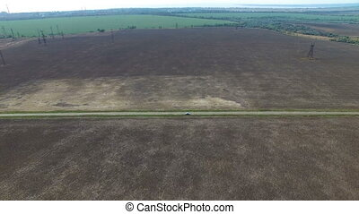 Flying over the tillage field in autumn. aerial survey