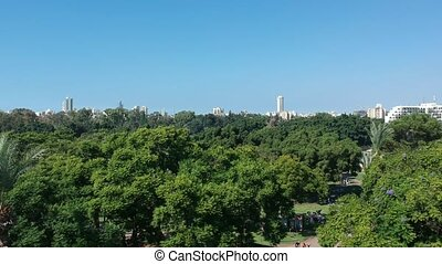 Flying over the trees towards Tel Aviv shot clip