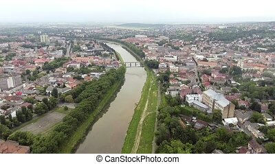 Flying over Uzhgorod city Ukraine.
