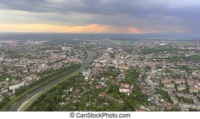 Flying over Uzhgorod city Ukraine.