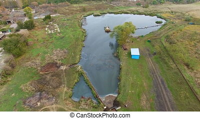 Flying over water treatment plants. aerial survey
