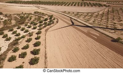 Flying over windmill shadow, tree field - Aerial view of...