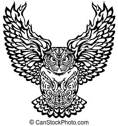 flying owl black and white