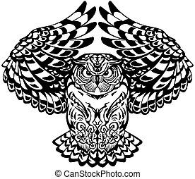 flying owl. Black and white. Front view