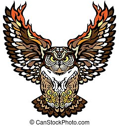 flying owl front view