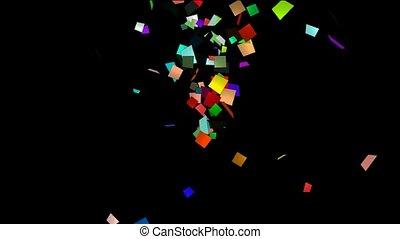 flying paper card debris, explosion