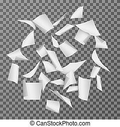 Flying paper document sheets. Falling 3d white blank page papers vector illustration isolated