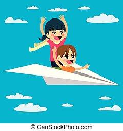 Flying Paper Plane Children