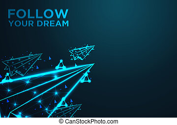 flying paper plane, follow your dream, Abstract shark form lines and triangles, , Abstract wire low poly, Polygonal wire frame mesh looks like constellation on dark blue night sky with dots and stars, illustration and background