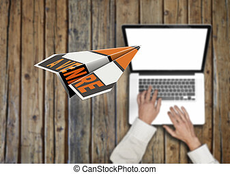 Flying paper plane with the words for sale and Businessman