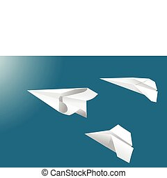 Free-standing paper plane vectors on a blue background.