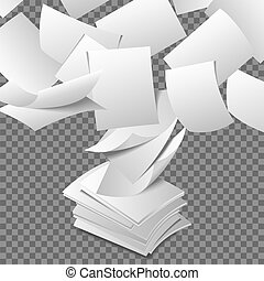 Flying paper sheets. Document blank business, white page,...