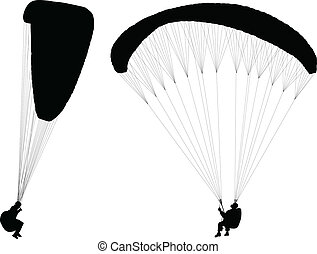 Flying paraglider - Silhouettes of flying paragliders....