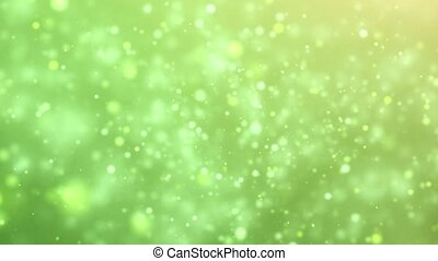 Flying particles on a green background