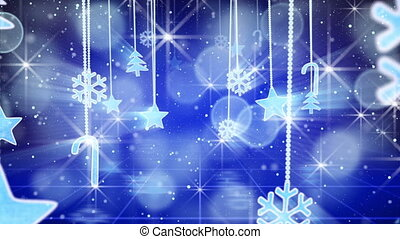 blue christmas hanging decorations