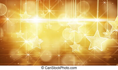 flying past by gold hanging stars