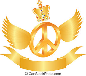Flying Peace Symbol with Crown Jewels Illustration