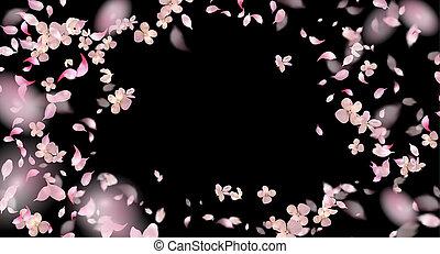 Flying Petals Over Black Background
